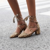 Heel Covering Pointed Toe Lace-Up Chunky Heel Thread Sandals
