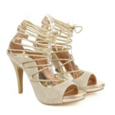 Heel Covering Open Toe Stiletto Heel Lace-Up Cross Strap Sandals