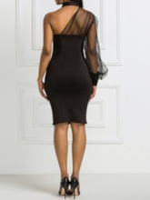 Mesh See-Through Asymmetric Long Sleeve Hollow Women's Dress