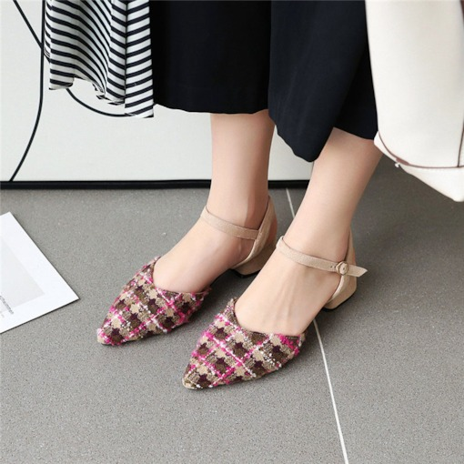 Buckle Pointed Toe Block Heel Thread Sandals