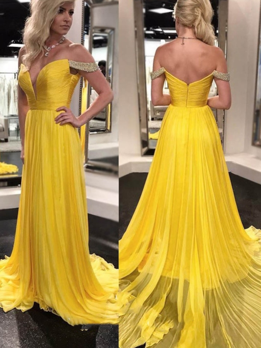 A-Line Off-The-Shoulder Floor-Length Beading Evening Dress 2020