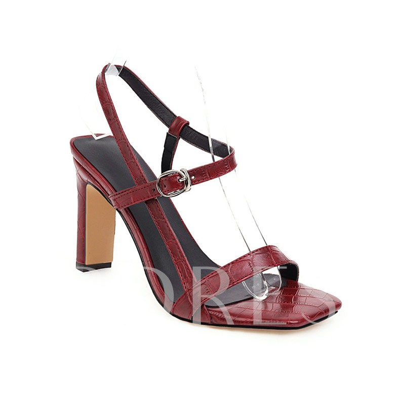 Chunky Heel Buckle Square Toe Casual Sandals