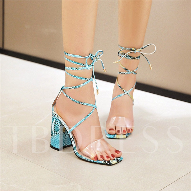 Chunky Heel Lace-Up Square Toe Ankle Strap Cross Strap Sandals