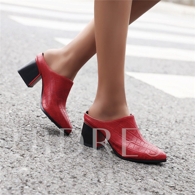Slip-On Block Heel Pointed Toe Thread Low-Cut Upper Thin Shoes