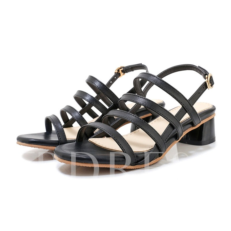 Block Heel Open Toe Buckle Casual Sandals