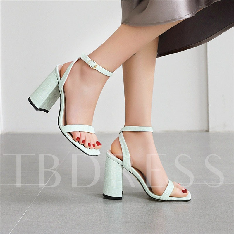 Chunky Heel Line-Style Buckle Square Toe Casual Sandals
