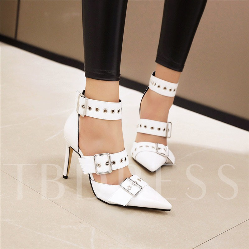 Line-Style Buckle Pointed Toe Heel Covering Stiletto Heel Casual Sandals