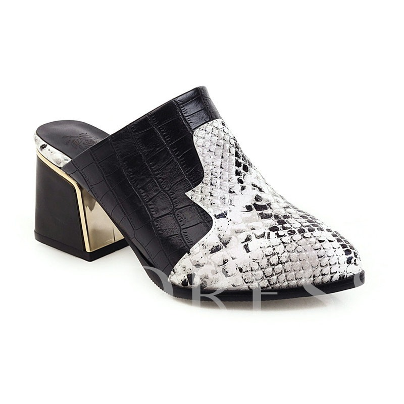 Block Heel Slip-On Pointed Toe Serpentine Casual Thin Shoes