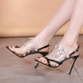Fashion Slip-On Stiletto Heel Thong Rhinestone Sandals