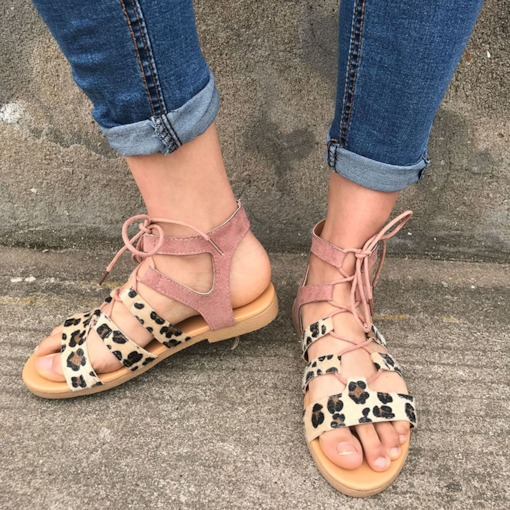 Open Toe Lace-Up Block Heel Casual Sandals