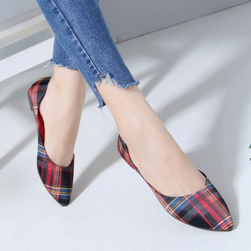 Block Heel Print Slip-On Pointed Toe Casual Thin Shoes
