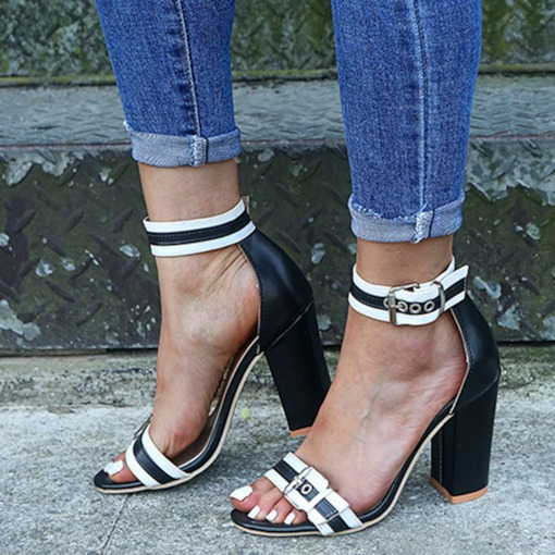 Peep Toe Chunky Heel Heel Covering Line-Style Buckle Color Block Sandals