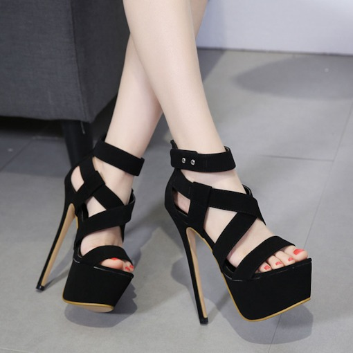 Fashion Zipper Heel Covering Open Toe Stiletto Heel Casual Sandals