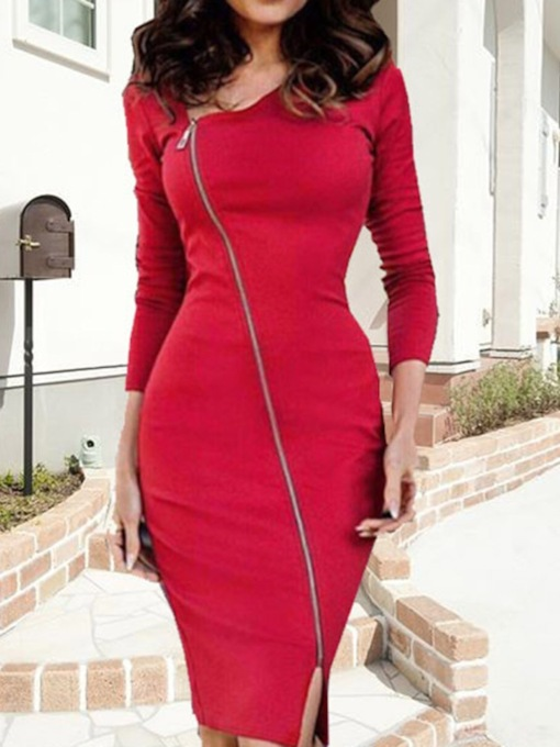 Oblique Collar Long Sleeve Split Knee-Length Bodycon Women's Dress