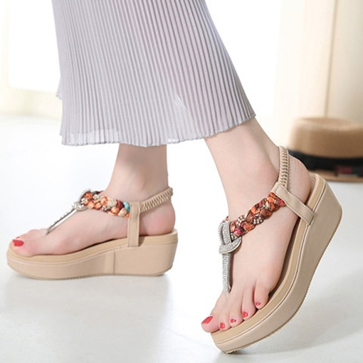 Thong Wedge Heel Slip-On Beach Sandals