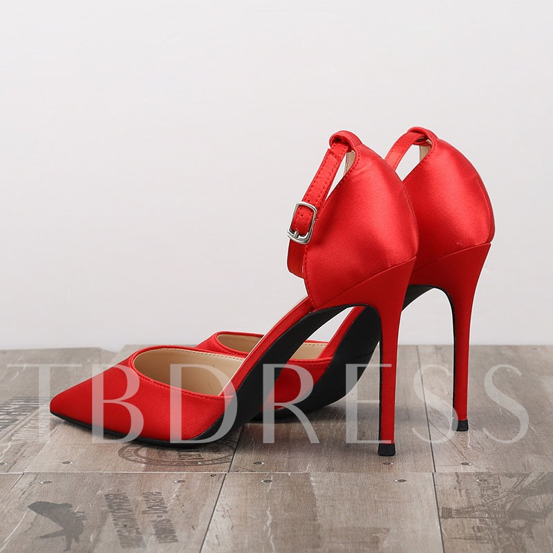 Line-Style Buckle Heel Covering Stiletto Heel Pointed Toe Plain Sandals