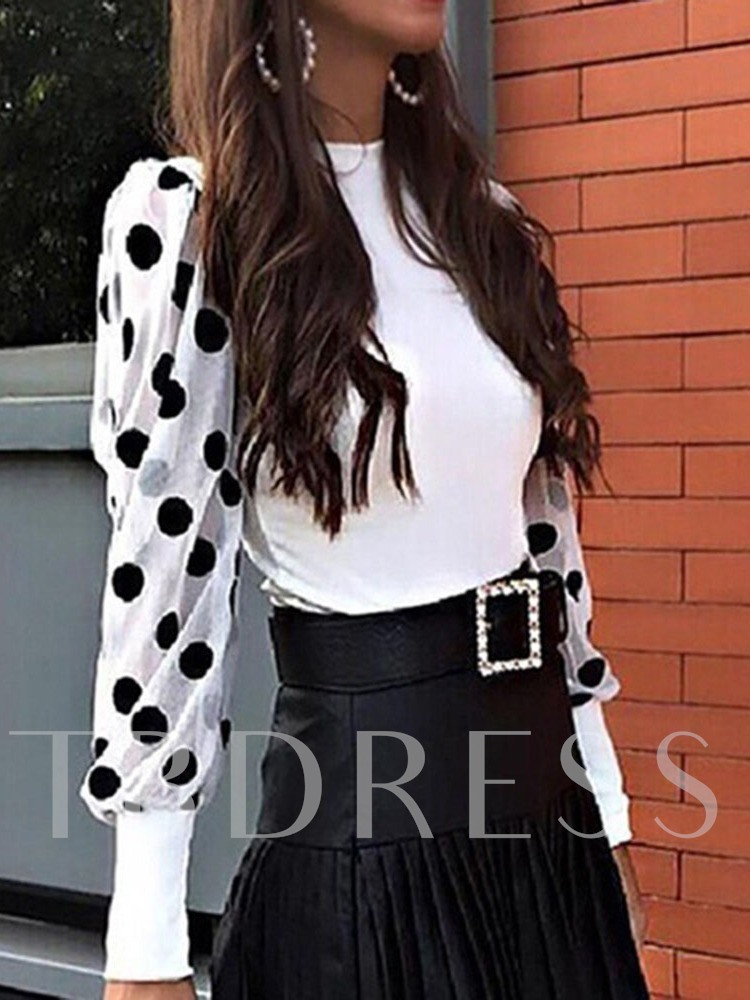 Round Neck Long Sleeve Wave Point Puff Sleeve Women's Blouse