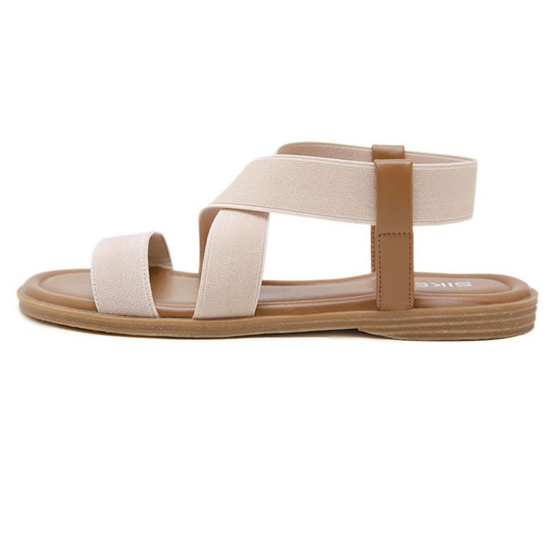 Flat With Slip-On Open Toe Low-Cut Upper Sandals