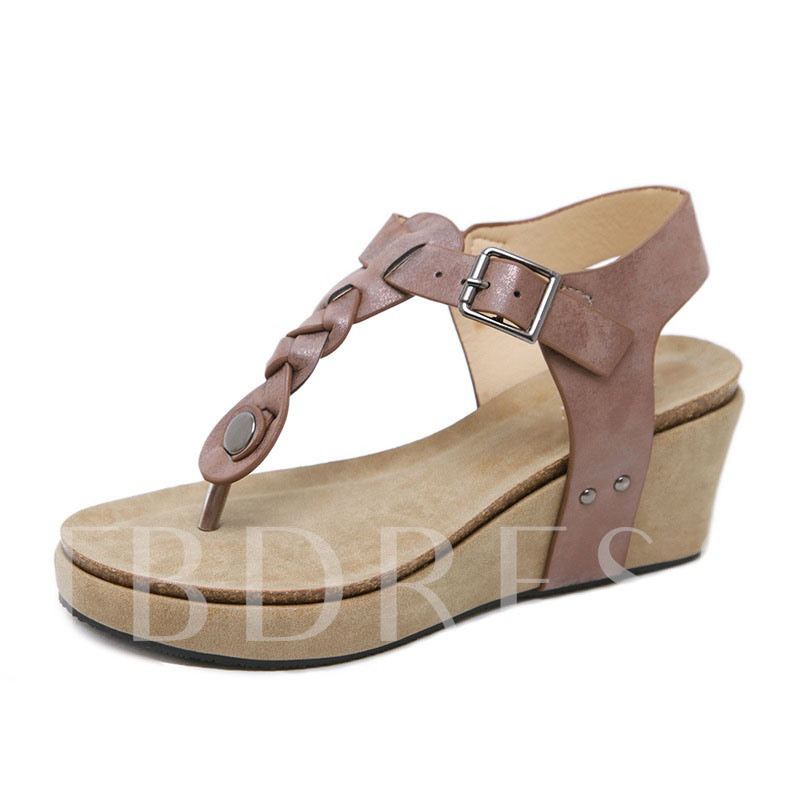 Thong T-Shaped Buckle Wedge Heel Casual Sandals