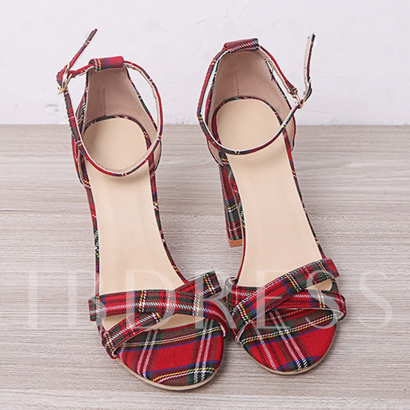 Chunky Heel Open Toe Line-Style Buckle Heel Covering Plaid Sandals