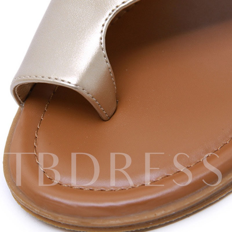 Slip-On Toe Ring Thread Flat With TPR Slippers