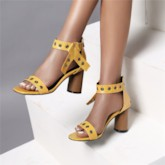 Zipper Heel Covering Chunky Heel Square Toe Casual Sandals