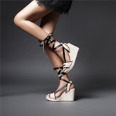 Wedge Heel Lace-Up Open Toe Ankle Strap Casual Sandals