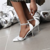 T-Shaped Buckle Heel Covering Pointed Toe Stiletto Heel Casual Sandals