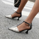 Cone Heel T-Shaped Buckle Heel Covering Pointed Toe Color Block Sandals
