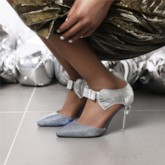Pointed Toe Heel Covering Stiletto Heel Slip-On Bow Sandals