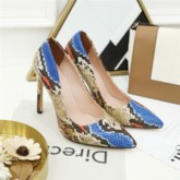 Pointed Toe Slip-On Serpentine Stiletto Heel Casual Thin Shoes