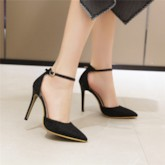 Heel Covering Pointed Toe Stiletto Heel Line-Style Buckle Casual Sandals