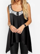 Polyester Mid-Length Lace Casual Women's Tank Top
