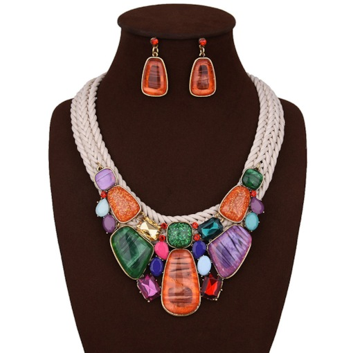 Color Block Woven Earrings Birthday Jewelry Sets