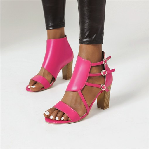 Buckle Heel Covering Open Toe Chunky Heel Casual Sandals