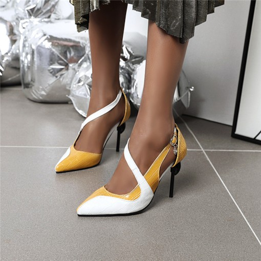 Pointed Toe Slip-On Stiletto Heel Alligator Pattern Low-Cut Upper Thin Shoes