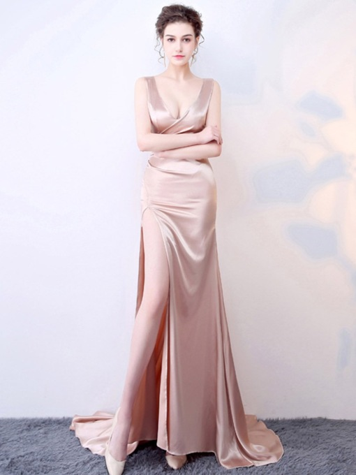 Court Trumpet/Mermaid Floor-Length V-Neck Evening Dress 2020