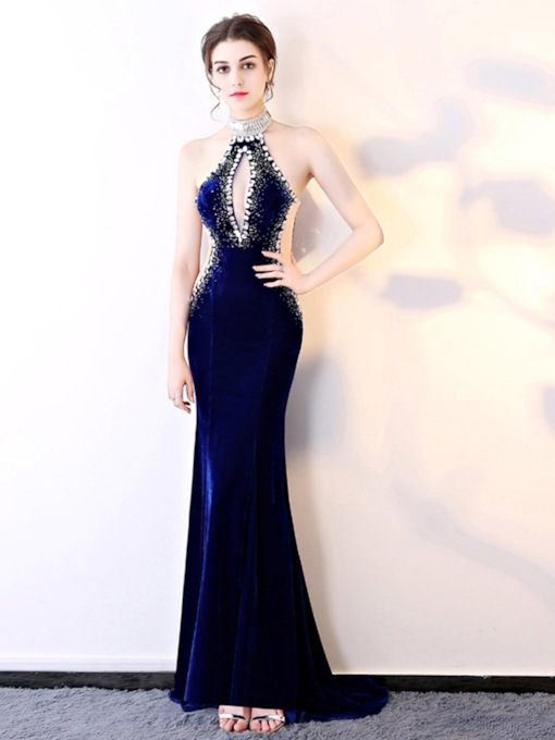 Trumpet Mermaid Floor-Length Court Sleeveless Evening Dress 2020