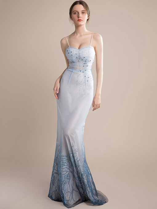 Bowknot Sleeveless Trumpet/Mermaid Floor-Length Formal Prom Dress 2020