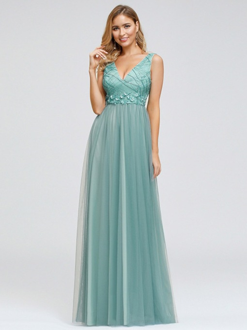 Sleeveless Appliques A-Line Floor-Length Formal Prom Dress 2020