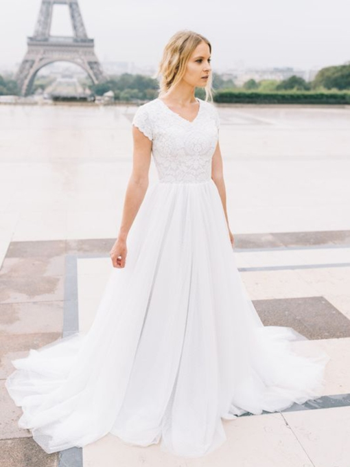 Floor-Length Cap Sleeves Court Lace Church Wedding Dress 2021