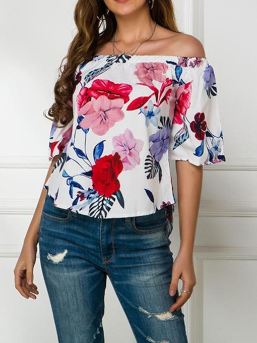 Off Shoulder Print Half Sleeve Floral Women's Blouse