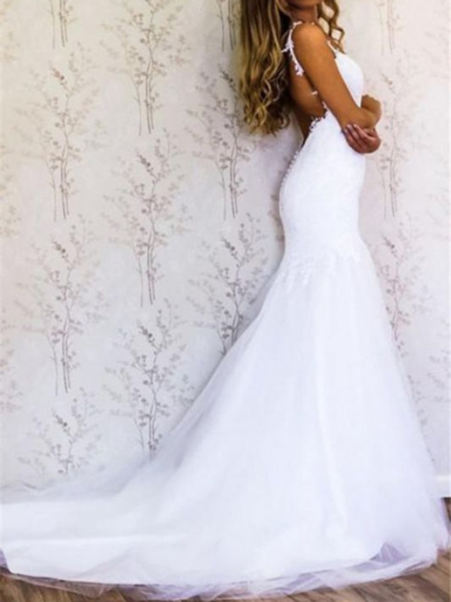 Mermaid Court Spaghetti Straps Appliques Church Wedding Dress 2021