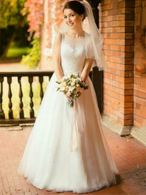 Appliques Sleeveless Floor-Length Scoop Garden Outdoor Wedding Dress 2021