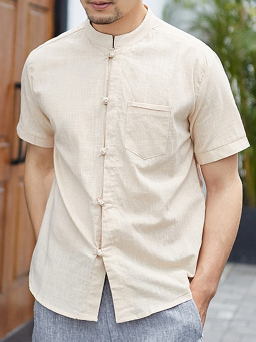 Stand Collar Plain Vintage Single-Breasted Men's Shirt