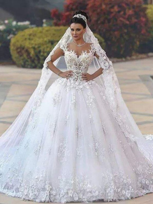 Ball Gown Sleeves Appliques Floor-Length Cathedral Hall Wedding Dress 2021