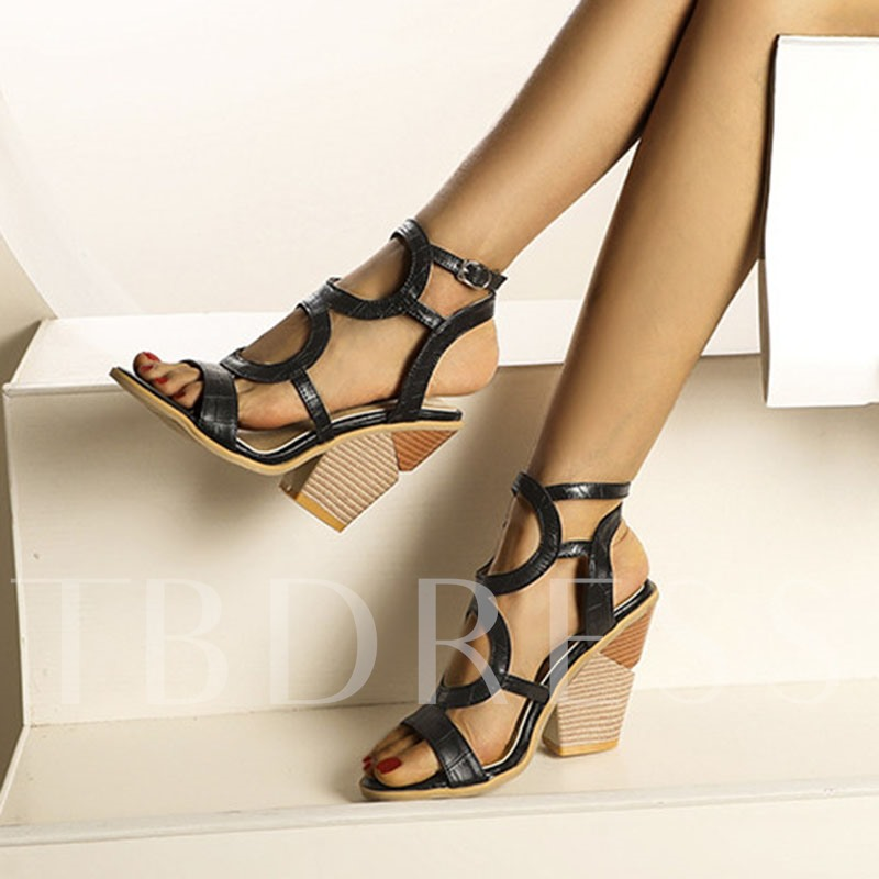 Square Toe Buckle Chunky Heel Hollow Sandals