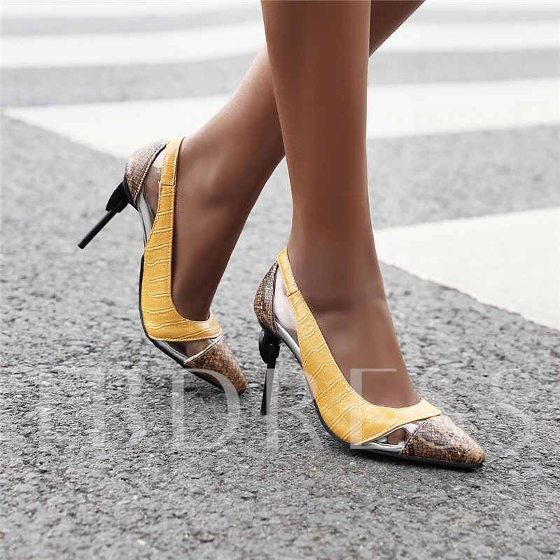 Pointed Toe Stiletto Heel Thread Slip-On Low-Cut Upper Thin Shoes