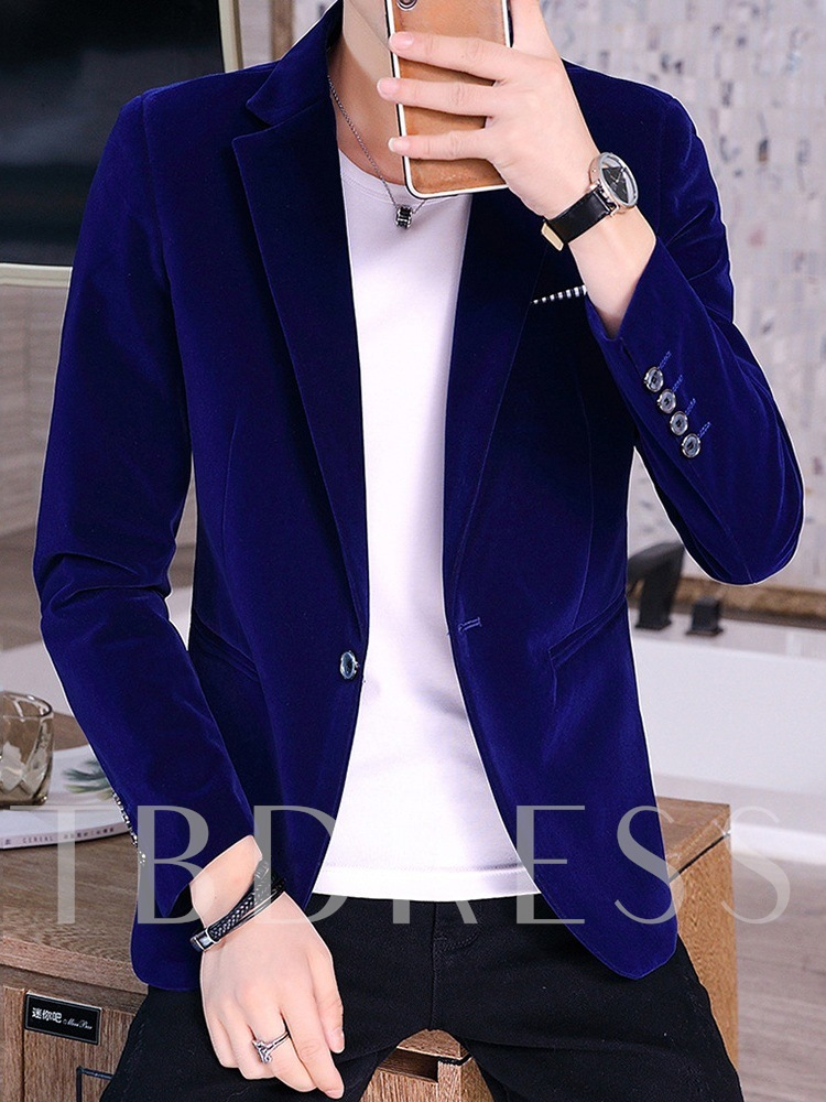 One Button Plain Slim Casual Men's leisure Suit