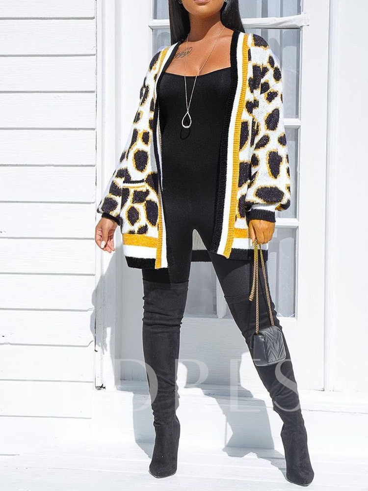 Mid-Length Leopard Pocket Long Sleeves Cardigan Women's Sweater